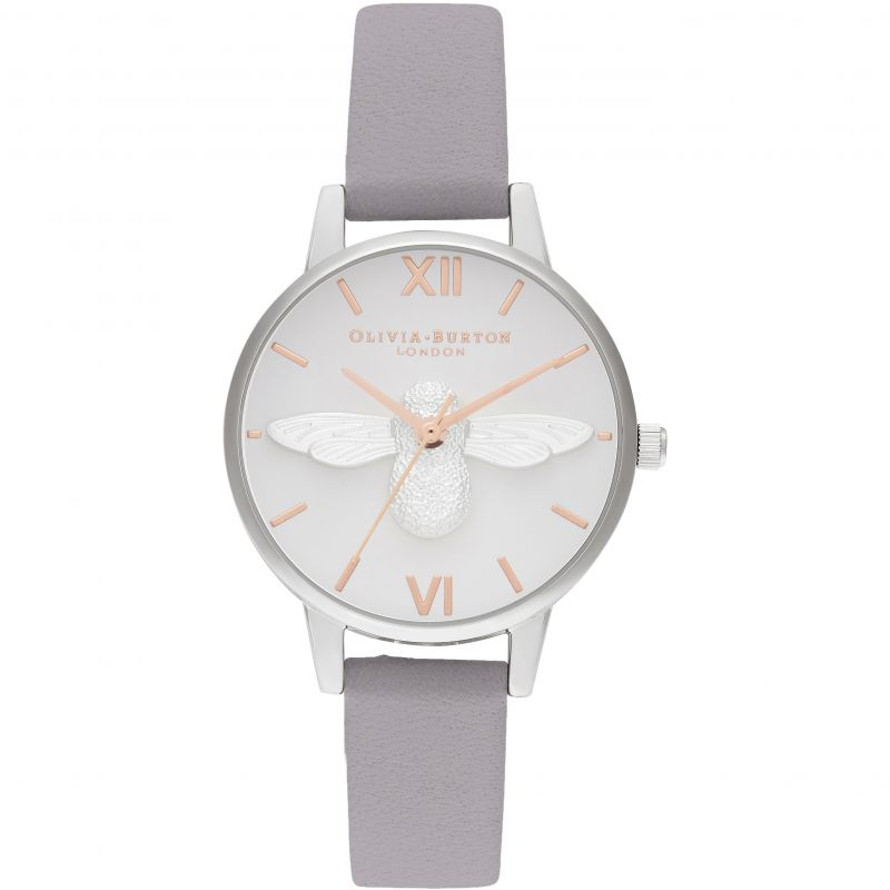 3D Bee Midi Dial Grey Lilac Rg & Silver Watch
