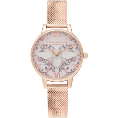 Meant To Bee 3D Bee Blush, Silver & Rg Mesh Watch