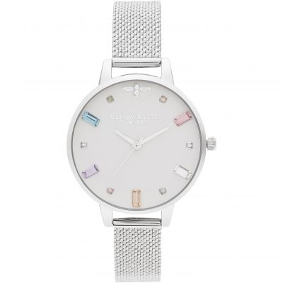 Rainbow Bee Demi Silver Boucle Mesh Watch