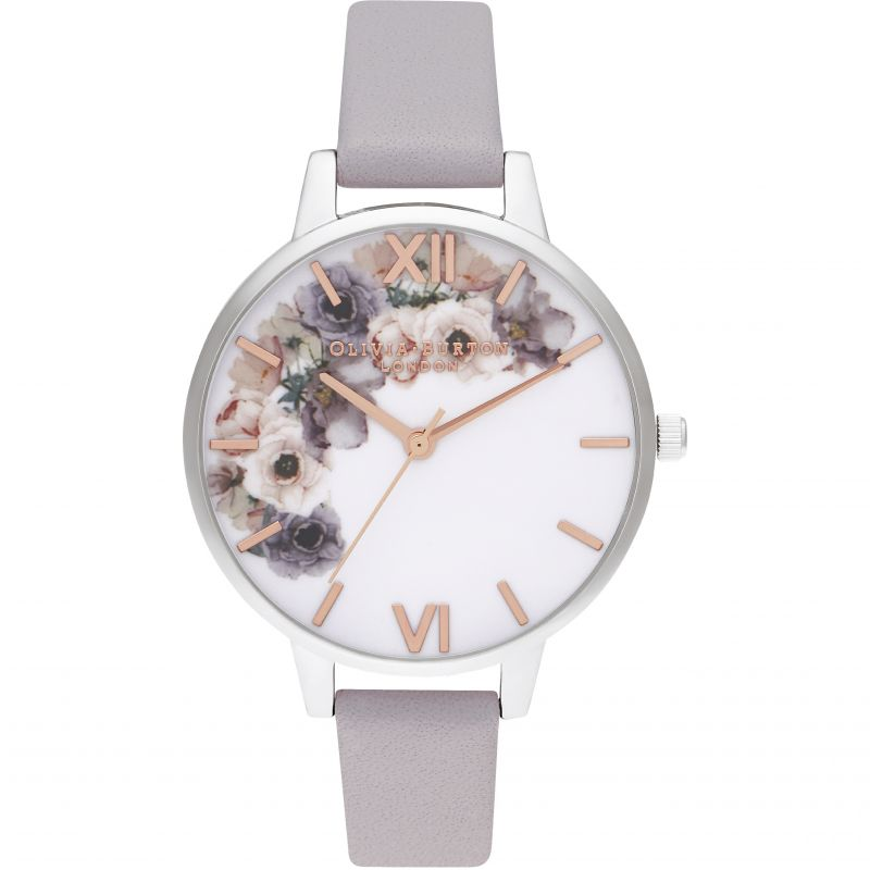 Watercolour Florals Demi Grey Lilac Rg & Silver Watch