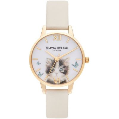 Olivia Burton Vegan Cat Watch Nude & Gold