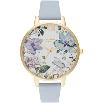 Bejewelled Florals Big Dial Chalk Blue & Gold Watch