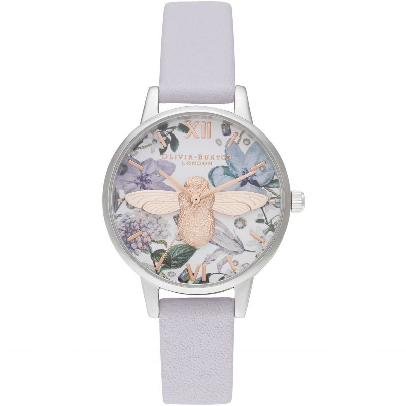 Bejewelled Florals Midi 3D Bee Parma Violet, Rg & Silver Watch OB16BF22 for £135