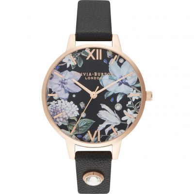 Bejewelled Florals Demi Embellished Black & Rg Watch