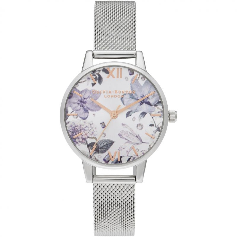 Bejewelled Florals Midi Rg & Silver Mesh Watch OB16BF26 for £95