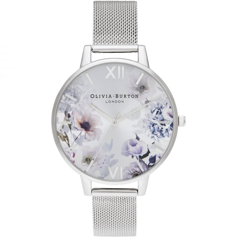 Sunlight Florals Big Dial Silver Mesh Watch