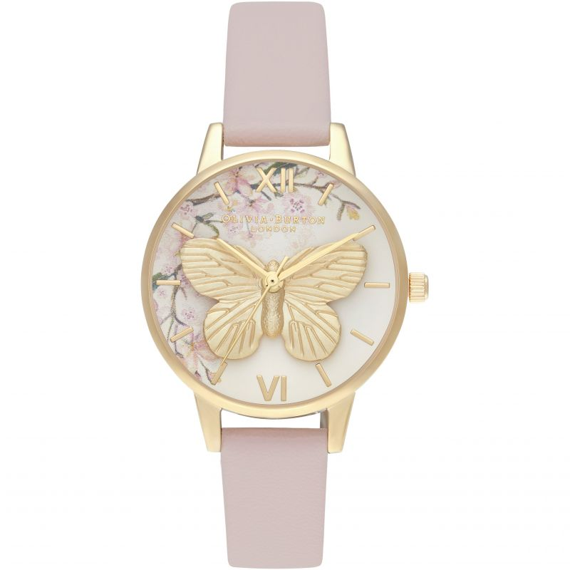 Pretty Blossom Midi 3D Butterfly Vegan Rose Sand & Gold Watch