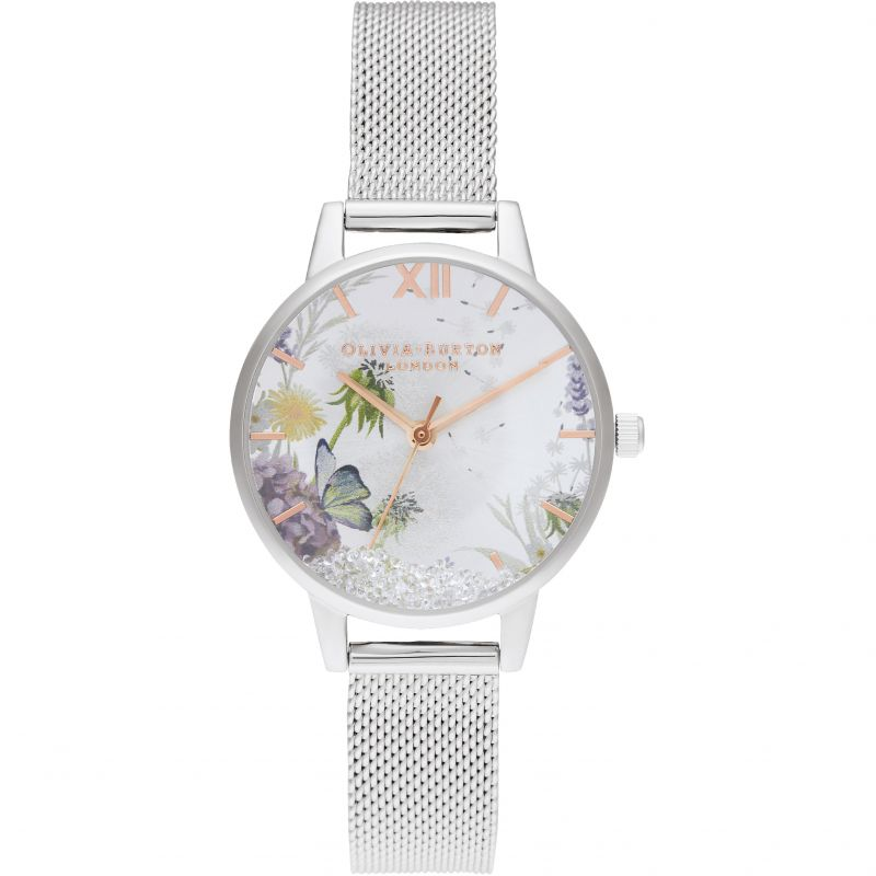 The Wishing Watch Silver Sunray, Rg & Silver Mesh Watch