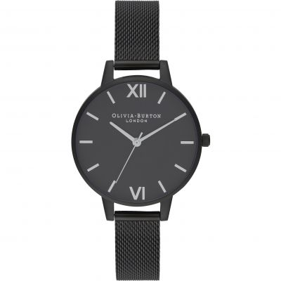After Dark Silver & Matte Black Mesh Watch
