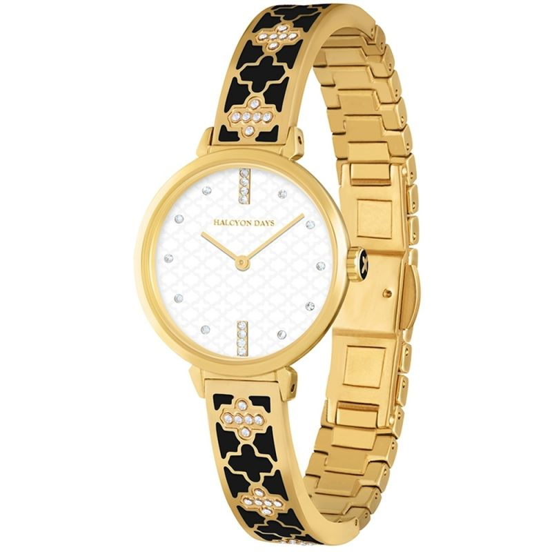 Agama Sparkle Black & Gold Bangle Watch