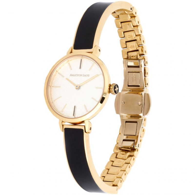 Agama Black & Gold Plain Bangle Watch