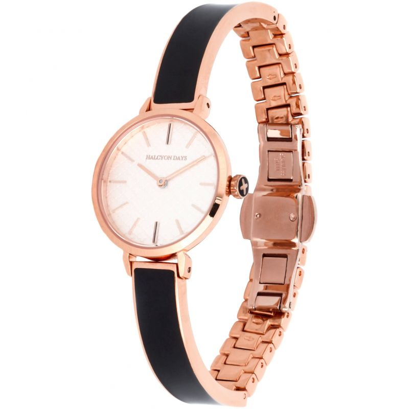 Agama Black & Rose Gold Plain Bangle Watch