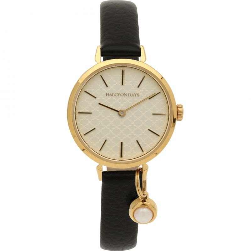Agama Pearl Charm Black & Gold Watch