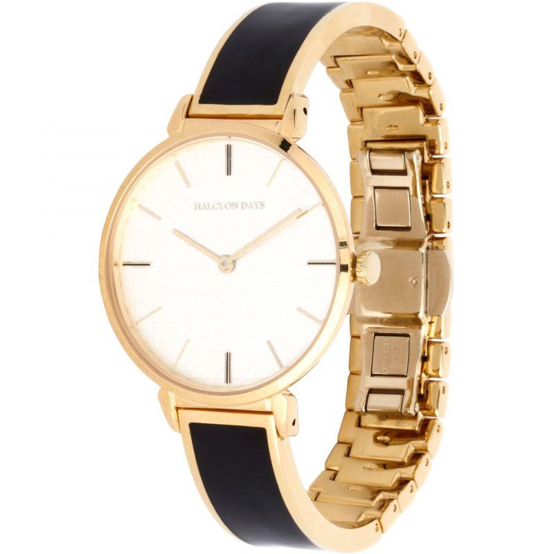 Maya Black & Gold Plain Bangle Watch