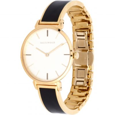 Maya Black & Gold Plain Bangle Watch