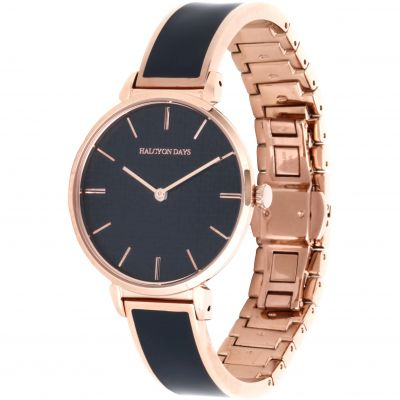 Maya Navy & Rose Gold Plain Bangle Watch