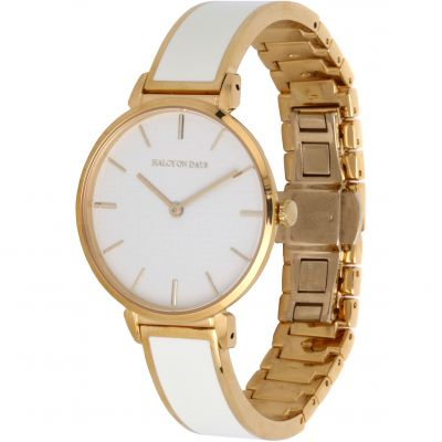 Maya Cream & Gold Plain Bangle Watch