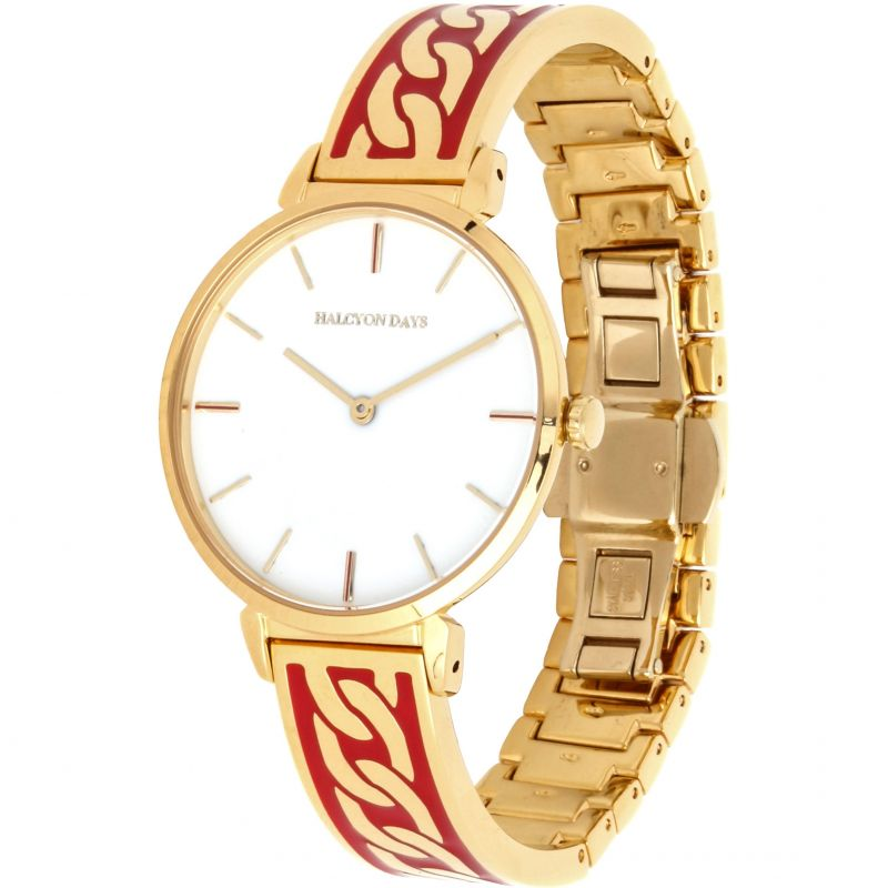 Curb Chain Red & Gold Bangle Watch
