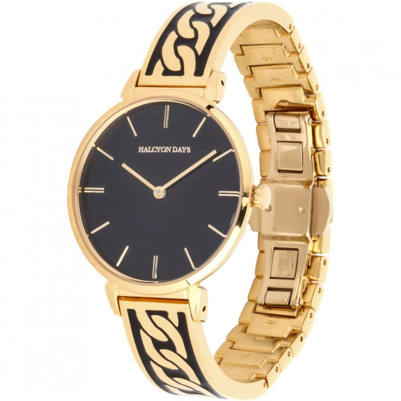 Curb Chain Black & Gold Bangle Watch