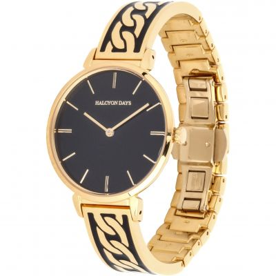 Curb Chain Black & Gold Bangle Watch