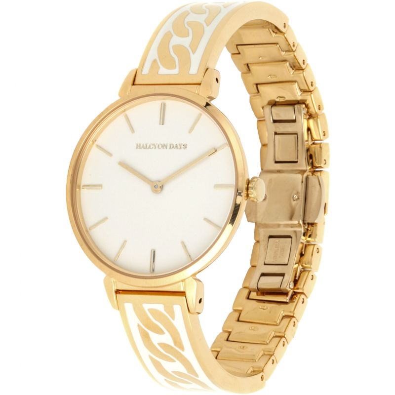 Curb Chain Cream & Gold Bangle Watch