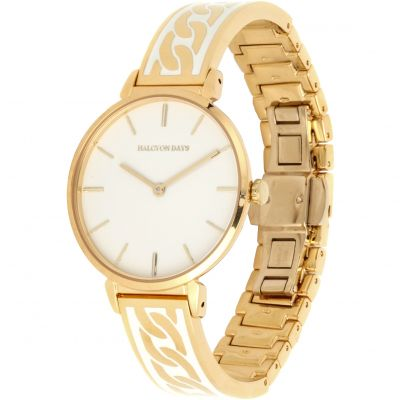 Curb Chain Cream & Gold Bangle Watch