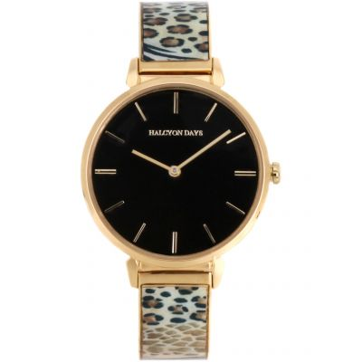 Mixed Animal Print Gold 36mm Face Bangle Watch