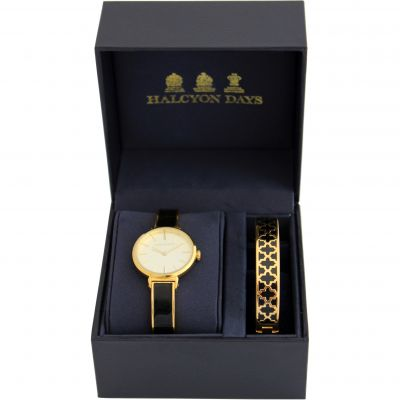 Agama Black & Gold Watch & 1cm Bangle Gift Set