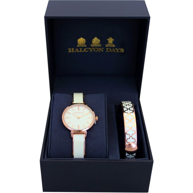 Agama Cream & Rose Gold Watch & 1cm Bangle Gift Set