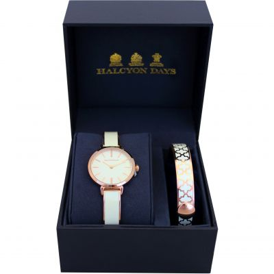 Agama Cream & Rose Gold Watch & 1cm Bangle Gift Set