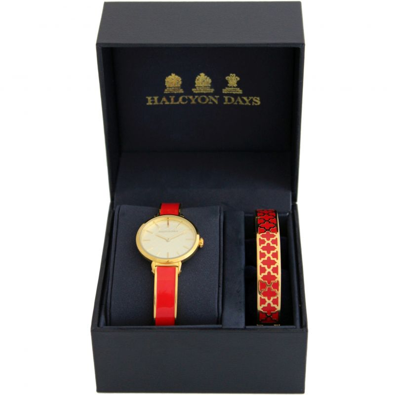 Agama Red & Gold Watch & 1cm Bangle Gift Set
