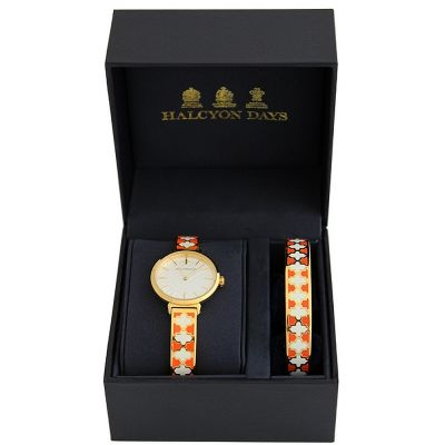 Agama Orange, Cream & Gold Watch & 1cm Bangle Gift Set