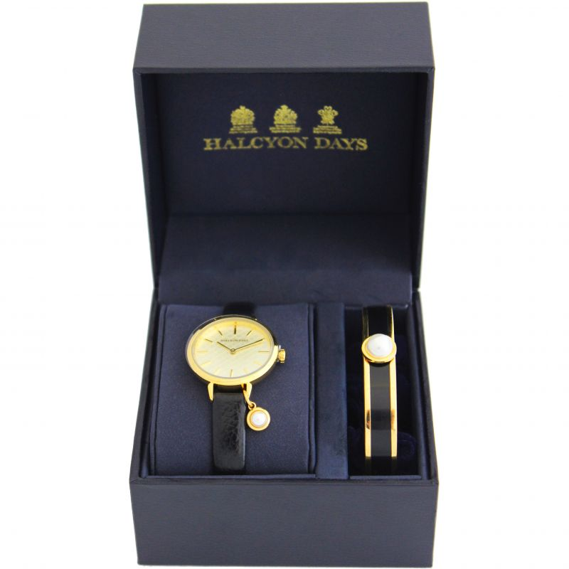 Agama Pearl Black & Gold Watch & Bangle Gift Set