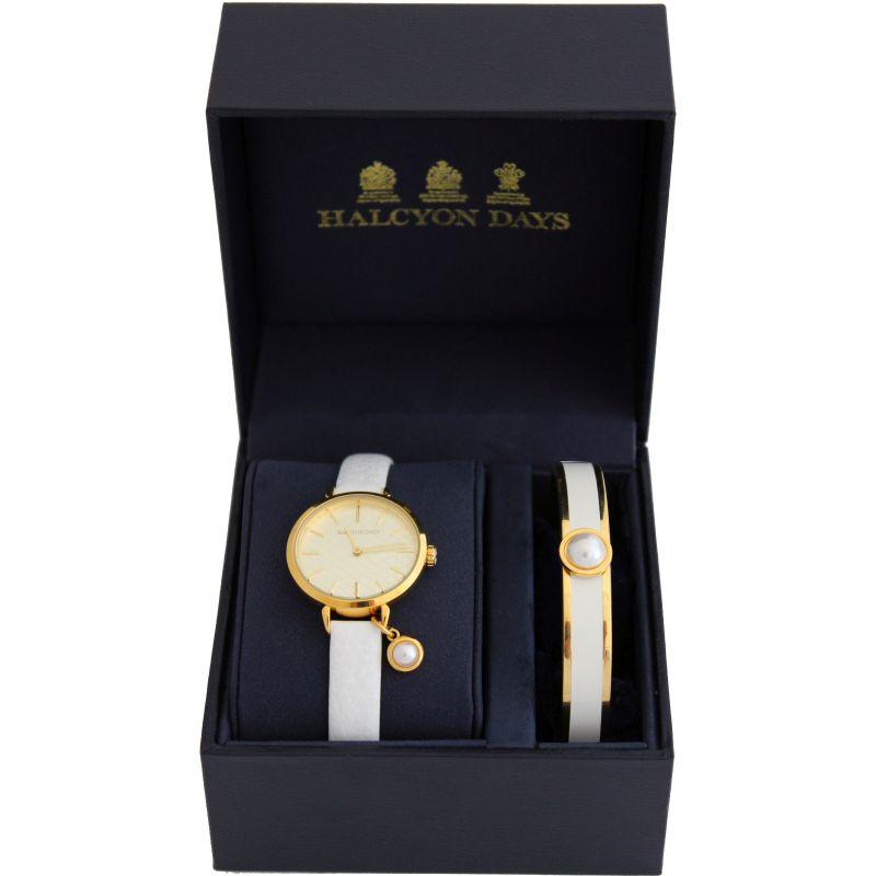 Agama Pearl Cream & Gold Watch & Bangle Gift Set