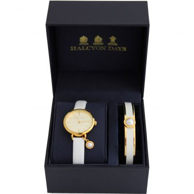 Agama Pearl Cream & Gold Watch & Bangle Gift Set