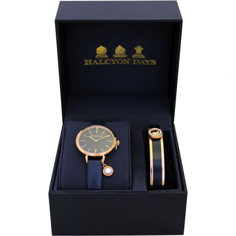 Agama Pearl Navy & Rose Gold Watch & Bangle Gift Set