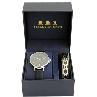 Agama Sport Black & Palladium Watch & Bangle Gift Set
