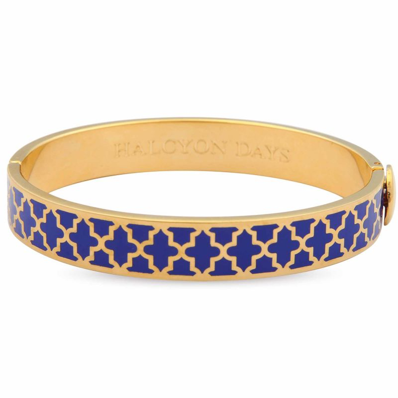 Image of 1cm Agama Deep Cobalt Gold Hinged Bangle