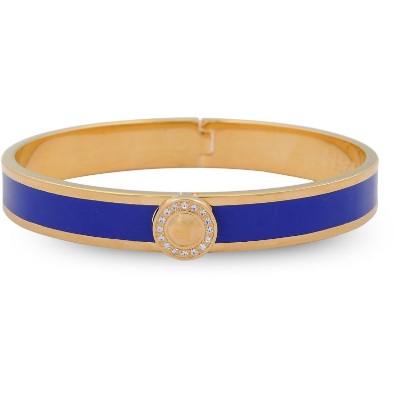 Image of 1cm Sparkle Button Plain Deep Cobalt Gold Hinged Bangle