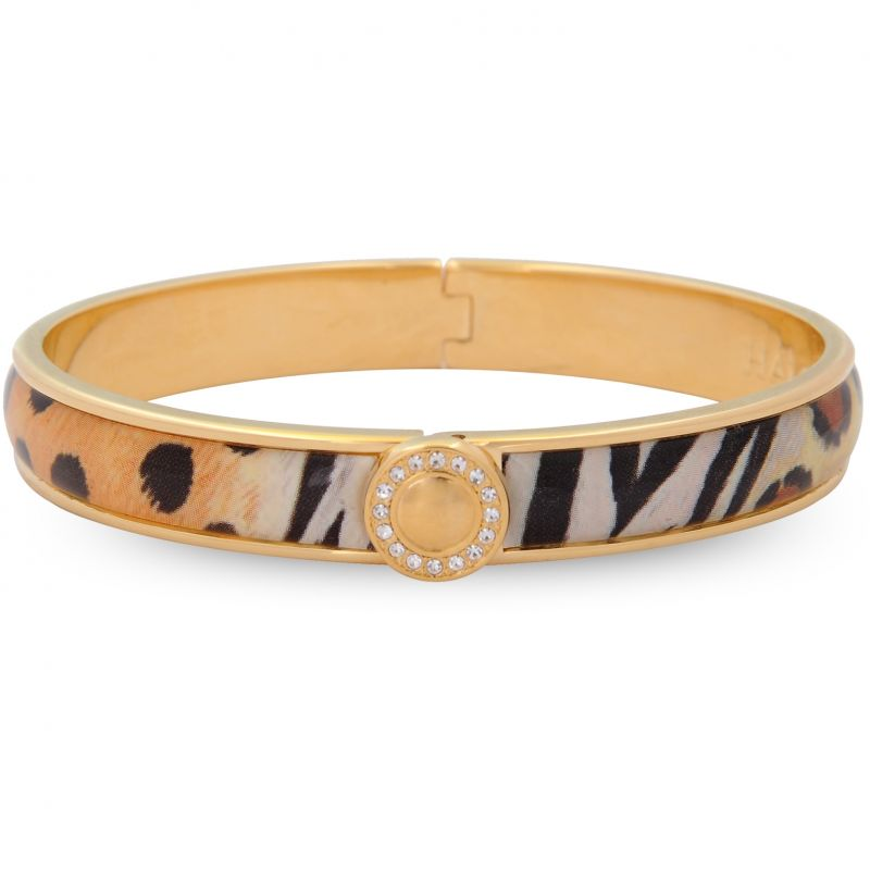 Image of 1cm Sparkle Button Animal Print Gold Hinged Bangle