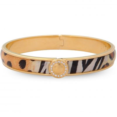 1cm  Sparkle Button Animal Print Gold Hinged Bangle