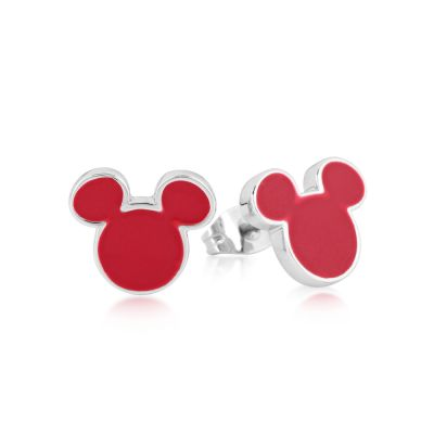 Disney Couture Mickey Mouse Anniversary Red Enamel Stud Earrings DSE385