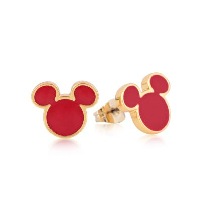Disney Couture Mickey Mouse Anniversary Red Enamel Stud Earrings DYE385