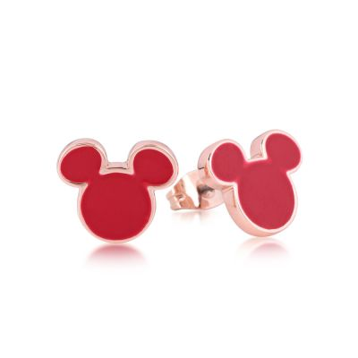 Disney Couture Mickey Mouse Anniversary Red Enamel Stud Earrings DRE385