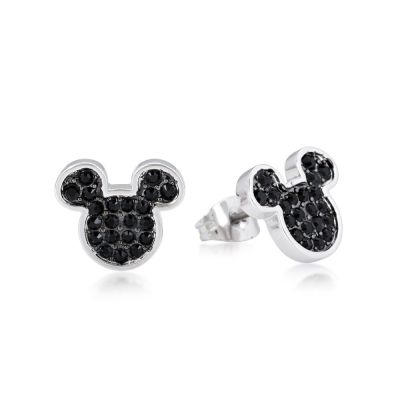 Disney Couture Mickey Mouse Anniversary Black Crystal Stud Earrings DSE386