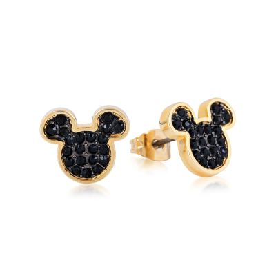 Disney Couture Mickey Mouse Anniversary Black Crystal Stud Earrings DYE386