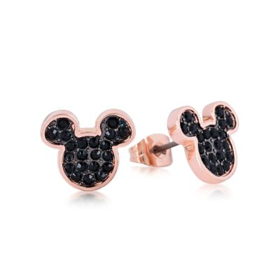 Disney Couture Mickey Mouse Anniversary Black Crystal Stud Earrings DRE386