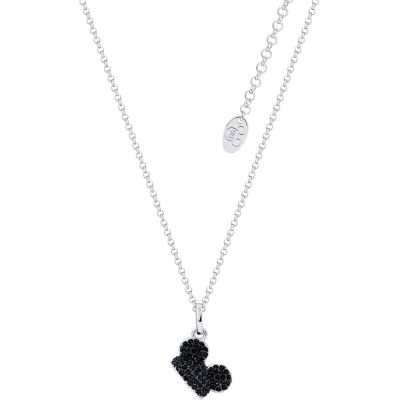 Disney Couture Mickey Mouse Anniversary Black Crystal Hat Necklace DSN503