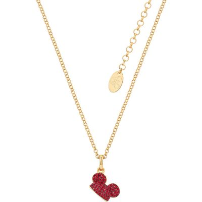 Disney Couture Mickey Mouse Anniversary Red Crystal Hat Necklace DYN505