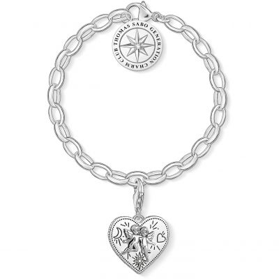 Ladies Thomas Sabo Sterling Silver Charm Club Thomas Sabo Charm Club Bracelet & Heart Charm Gift Set SET0554-643-14-L17
